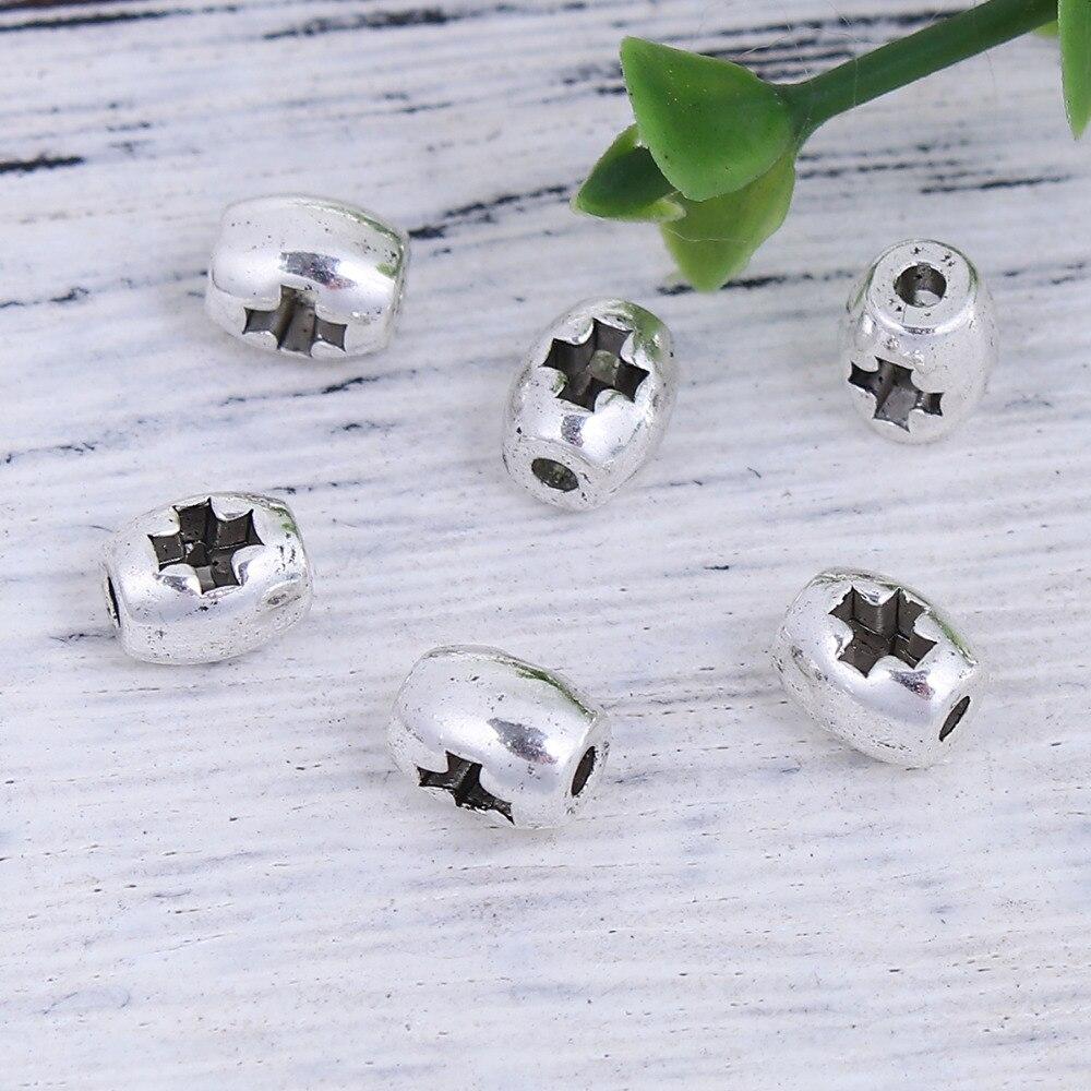 """Doreenbeads zinco baseado liga prata cor diy espaçador grânulos barril cruz 6mm (2/8 """") x 5mm (2/8""""), furo aproximadamente 1.4mm, 100 peças"""
