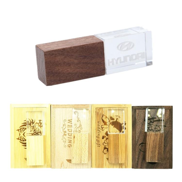 (Más de 10 uds) fotografía de boda logotipo personalizado de madera cristal + caja de madera USB 2,0 versión memoria Flash stick pen drive