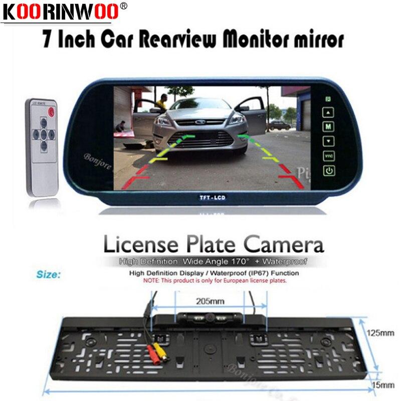 "Koorinwoo HD Monitor de espejo LCD de 7 ""para coche, pantalla de aparcamiento DVD/VCD/GPS/TV, Marco para matrícula Europa, cámara de visión nocturna"