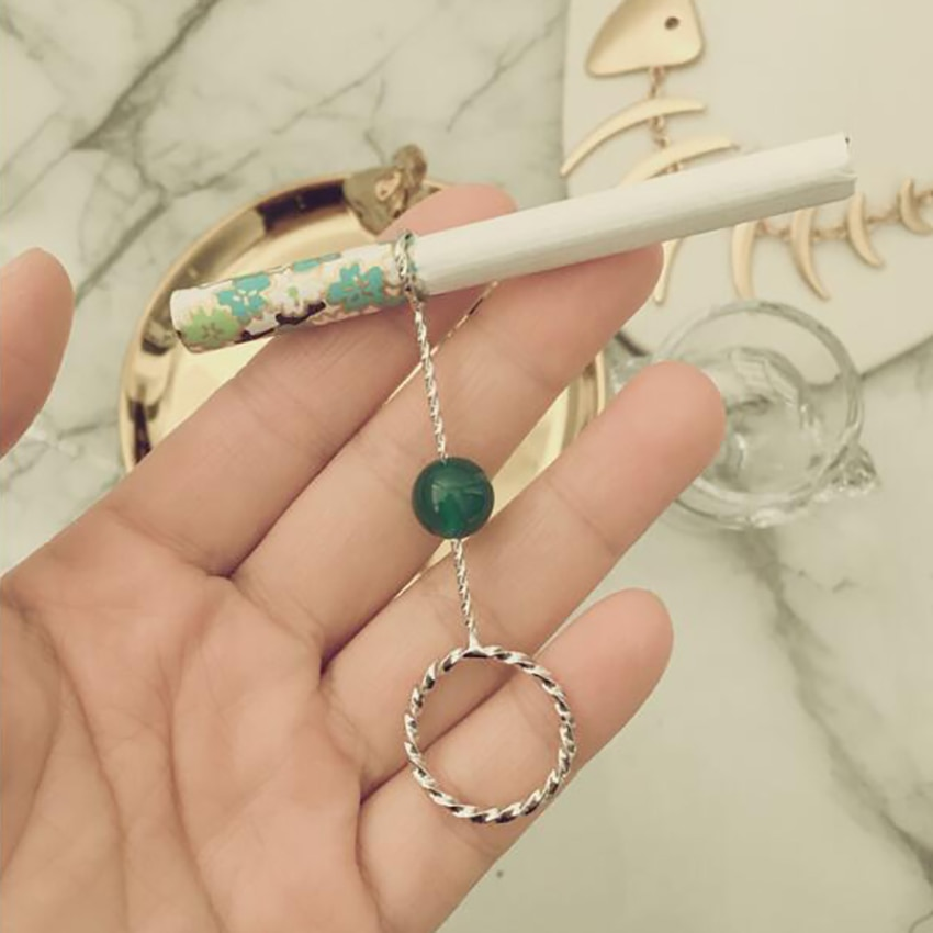 dia 16mm/17mm Elegant Lady Smoker Gold Silver Vintage Metal Ring Cigarette Rack Cigarette Smoking Holder Women Christmas Gift