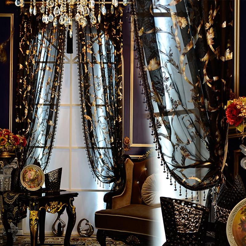 European continental black and gold sheer gauze bronzing flower tulle bedroom living room warm elegant tulle E828