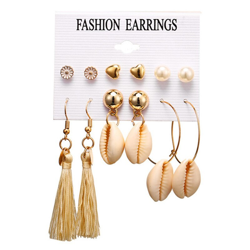 CHENFAN bohemian shell tassel fashion combination set earrings fashion earrings female earrings for women