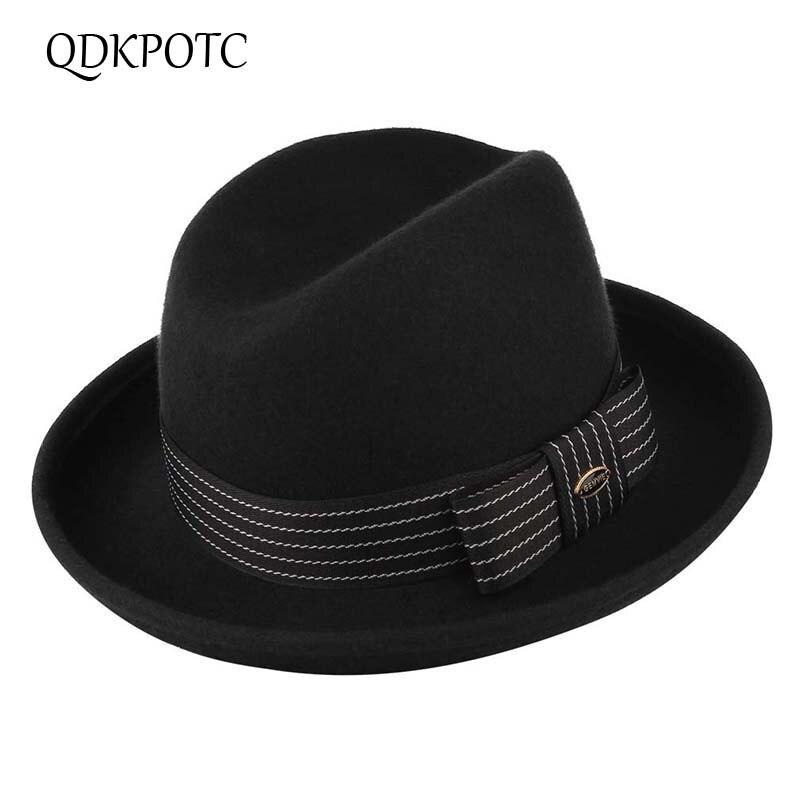QGKPOTC Autumn Winter High Quality 100% Wool Fedoras  Men Crimping Brim Felt Hat Bowknot Belt Gentleman's Hat Black Church Cap