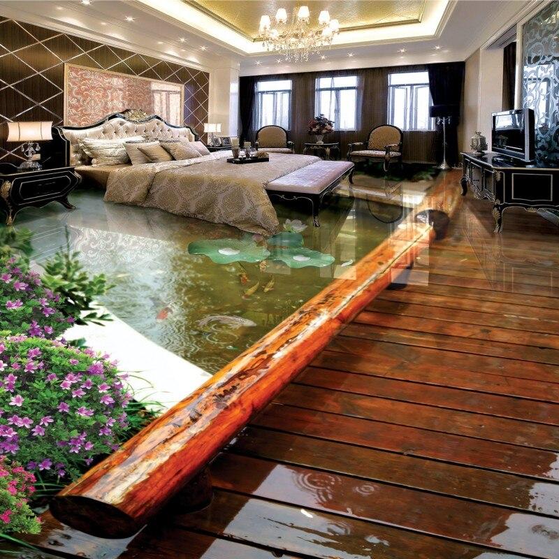 Envío Gratis Parque puente de madera de koi habitación cuarto de baño 3d pisos engrosada dormitorio Plaza mural de piso para Lobby