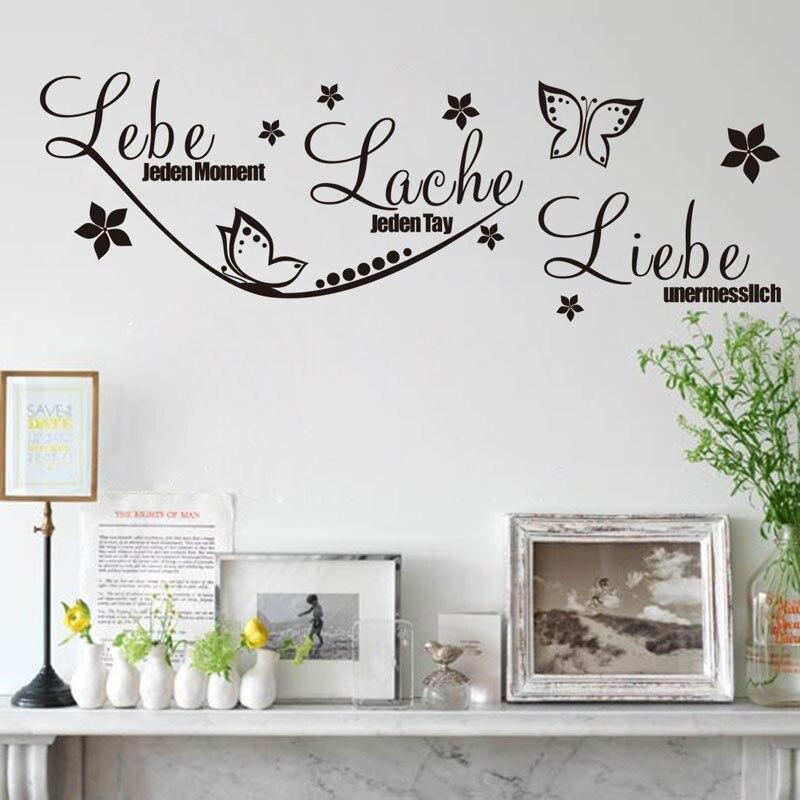 Alemão Live Laugh Love Quotes Adesivos de Parede Home Decor Para Sala Quarto Borboleta Flor Decoração Da Parede Do Decalque Mural H572