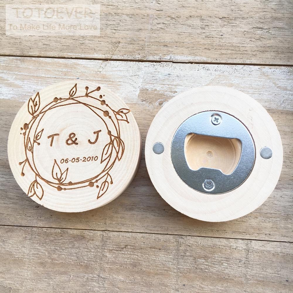 Logo personalizado nombre personalizado fecha abrebotellas de madera imán de nevera Promoción de publicidad regalos de apoyo para boda y regalos