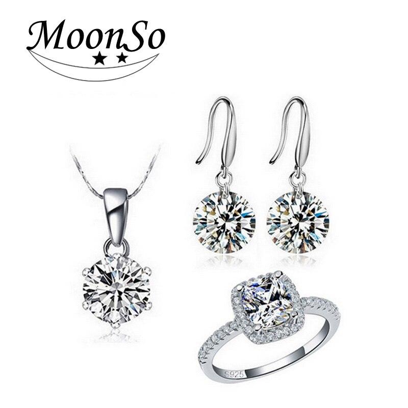 Moonso 925 en argent Sterling coussin zircon ensemble de bijoux pour mariage africain mariée en gros cadeau de fête de noël pour les femmes J1582