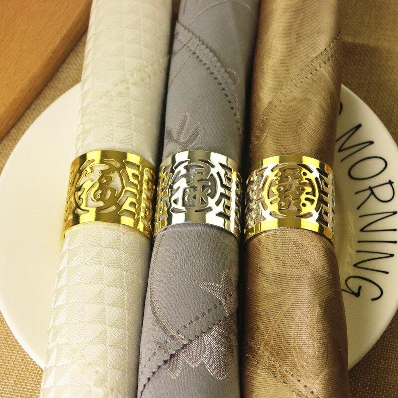 6 piezas de oro/plata/oro de tres colores servilleta anillo boda banquete boda servilleta hebilla creativa Fu lengüeta de anillo de servilleta Lu hi