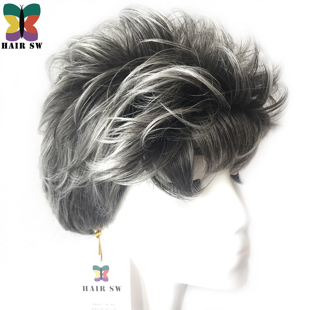 HAIR SW Short Pixie Style Ladies Synthetic hair Wig Grey white layered naturally Fluffy curly women wig for over 60 years