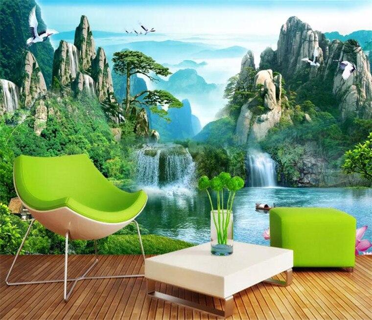Papel pintado de foto personalizado murales paisaje natural tridimensional paisaje cascada 3D TV pared papel de parede 3d para