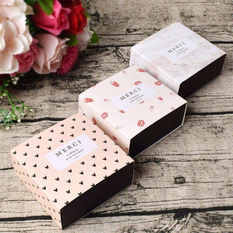 Boîtes en papier tiroir à chocolat 10 pièces   Boîtier carré haut de gamme, extractible pour la saint-valentin, emballage de bonbons pour Banquet de mariage