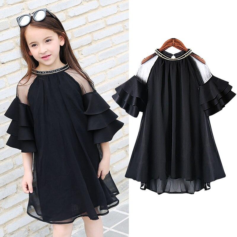 Adolescente plissado mangas chiffon vestidos para meninas roupas age68 10 12 14 16 ano 2018 novo vestido de festa meninas grandes crianças