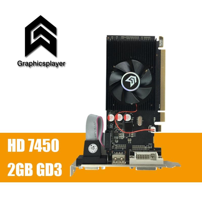 100% new original graphics card pci express HD7450 2GB DDR3 64bit LP placa de video card PC for ATI