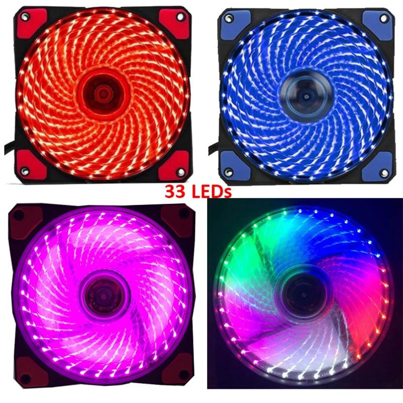 33 светодиодный ПК компьютер 5 видов цветов Фиолетовый 16dB крайне низкий уровень шума, игровой корпус вентилятора радиатора кулер охлаждения резиновой подошве 12 см вентилятор 12v molex 4pin 3p