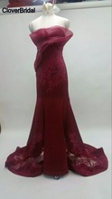 Robe de soirée sirène en organza + satin + filet couleur vin avec appliques en dentelle
