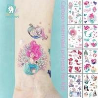 cartoon mermaid temporary tattoo sticker fashion fake tatoo flash sea maid princess childrens girl award sticker small taty