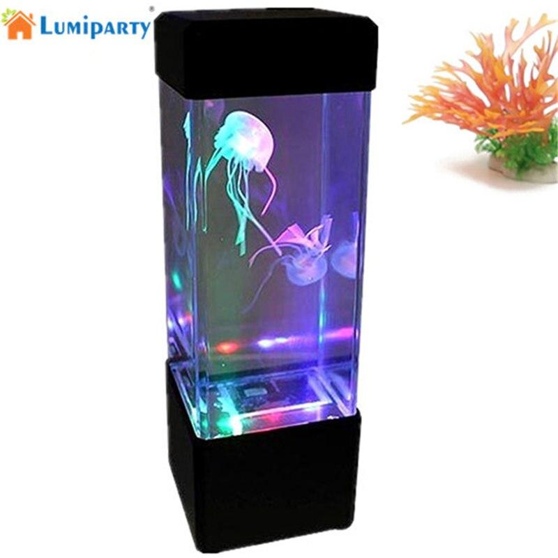 LED Desktop Light Jellyfish Tropical Fish Aquarium Tank LED Light Relaxing Bedside Mood Night Light Lamp