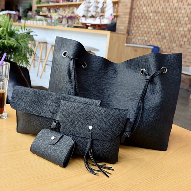 LJL, bolso de mano para mujer, bolso de hombro, bolso informal con borla, 4 Uds., bolsos (negro)