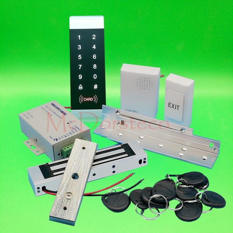 DIY completo 125khz Rfid Sistema de control de bloqueo de puerta 350lbs 180kg cerradura magnética eléctrica + soporte ZL + fuente de alimentación + botón de salida