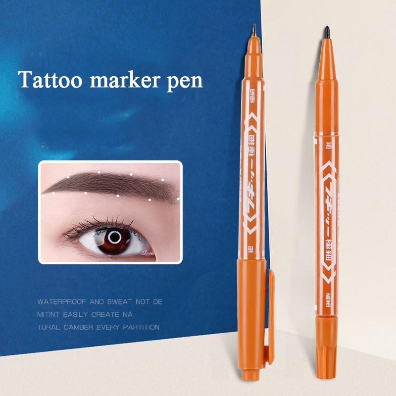 5 stücke Tattoo Zubehör Versorgung Marker Stift Braun Farbe Chirurgische Haut Marker Stift Werkzeug für Permanent Make-Up Microblading Augenbraue
