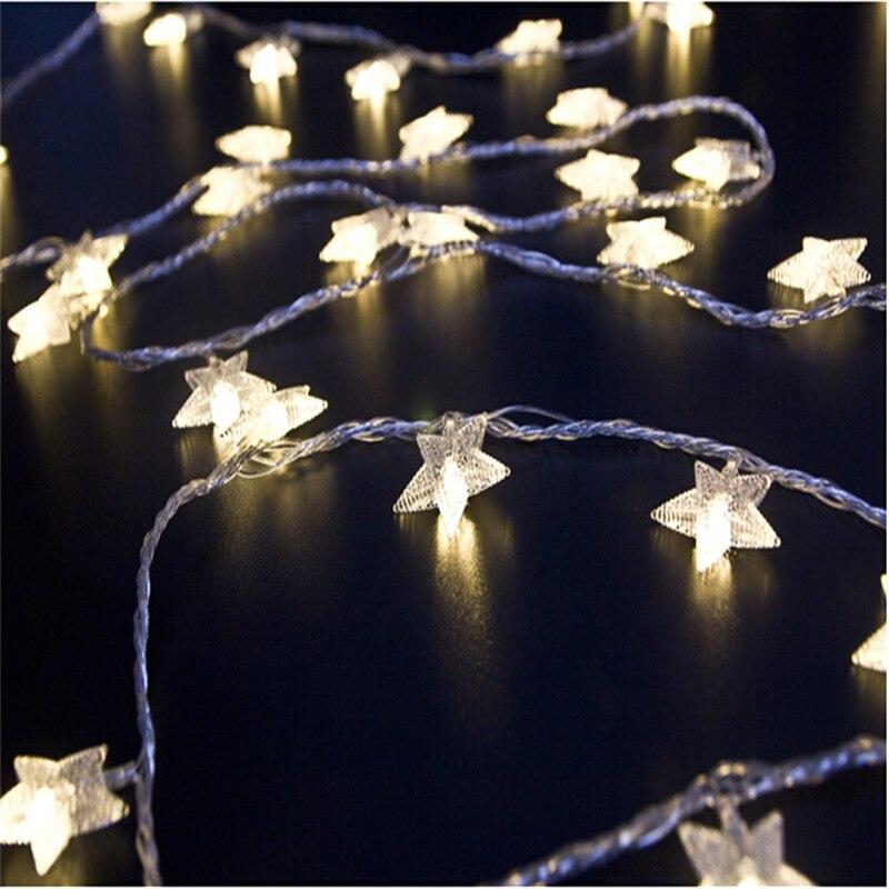 4M 20Led luces Navidad árbol nieve estrella bombillas Led guirnalda de luces de hadas fiesta de Navidad guirnalda para jardín o boda decoraciones de Navidad