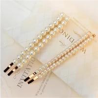 1 pair fashion women simulated pearls braided hair pins elegant big hair slides handmade beads hair barrettes bobby pins