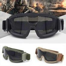 Lunettes tactiques militaires balistiques à 3 lentilles pour hommes, lunettes de soleil tactiques pour larmée américaine lunettes de casque Anti-buée Airsoft lunettes dextérieur