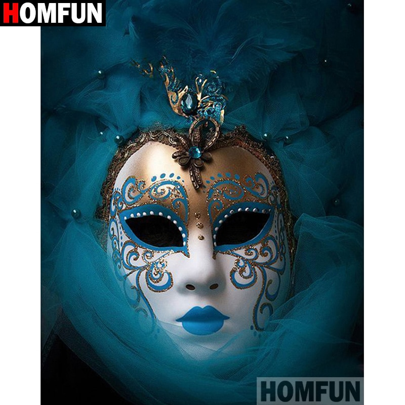 "HOMFUN taladro cuadrado/redondo completo 5D DIY pintura de diamante ""Mask beauty"" 3D diamante bordado punto de cruz decoración del hogar A19690"