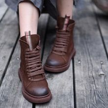 Artmu Original Autumn and Winter Women Boots New Genuine Leather Martin Boots Retro British Student Boots Height Increasing 6652