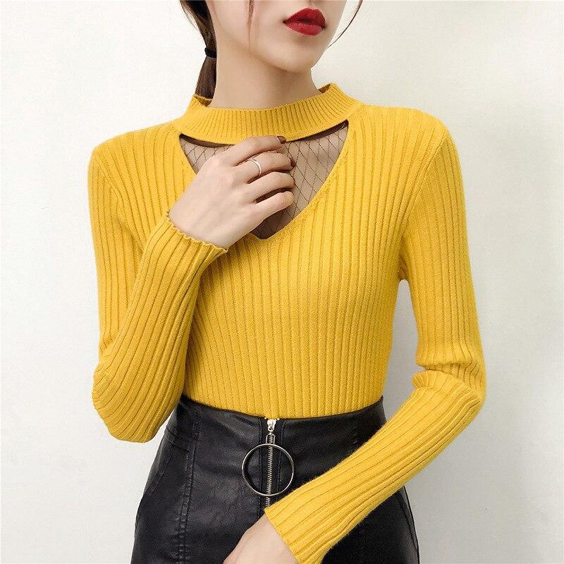 Sexy elegante encaje de malla de hilo ahueca hacia fuera el suéter negro básico de la señora suéteres amarillos suéteres femeninos coreanos suéter de punto de primavera