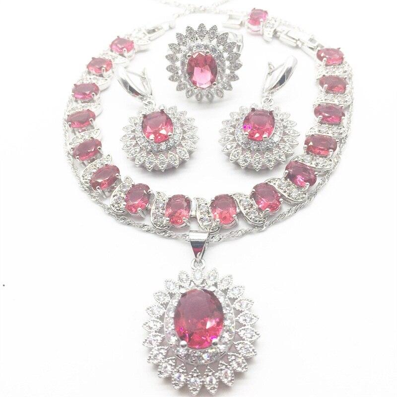 Flower White zircon Rose Crystal Jewelry Set Silver color For Women 925 Logo Bracelets/Necklace/Earrings/Ring/Pendants