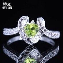 Solide 10K or blanc Trillion 5x5mm 100% véritable péridot & diamants bague de fiançailles Vintage Art déco bague de mariage bijoux fins
