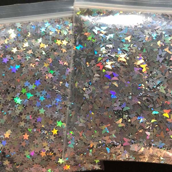 Голографический блеск серебристого и золотого цвета, 10 г/пакет, 3 мм, микро-звезда/бабочка, Микс, акриловый лазерный блеск для дизайна ногтей, украшения LS2356