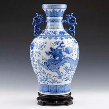 Jingdezhen Ceramics High-grade Blue  and White Porcelain Vase Double Ear Dragon-pattern Vase Living Room Home Decoration Crafts