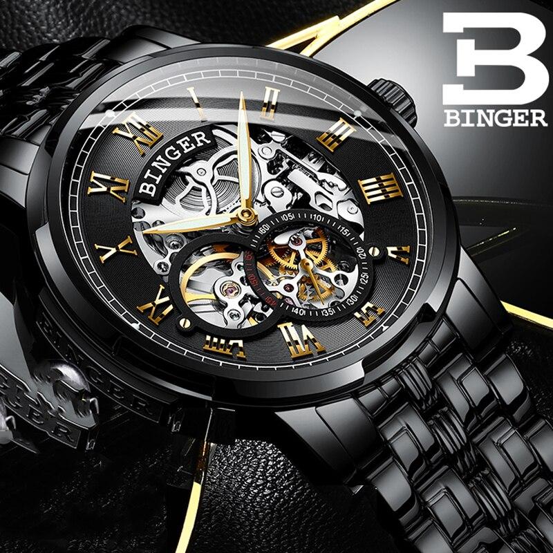 Swizerland BINGER Brand Watches MMen Mechanical Skeleton Wrist watches Fashion Casual Automatic Watch Black Steel Band relogio