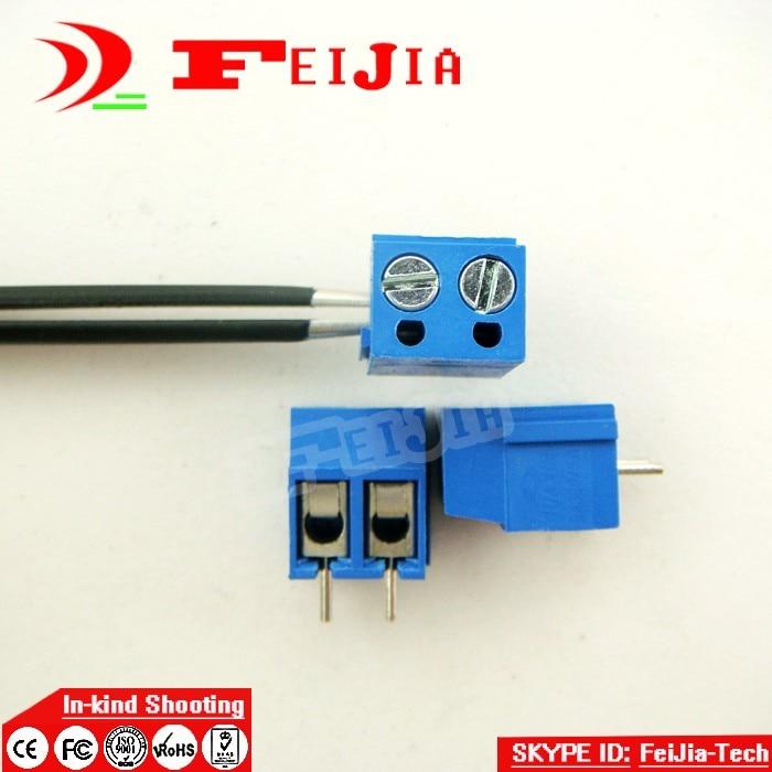 Envío Gratis 100 Uds 301-5.0-2p tornillo 2Pin 5,0mm Pin recto PCB tornillo conector de bloque de terminales (300 V/16A)