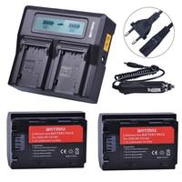 2Pc NP-FZ100 NP FZ100 NPFZ100 Battery + AC Rapid LCD Dual Charger for Sony Alpha 9 A9 9R A9R 9S A9S A7RIII A7R3 7RM3 A7m3