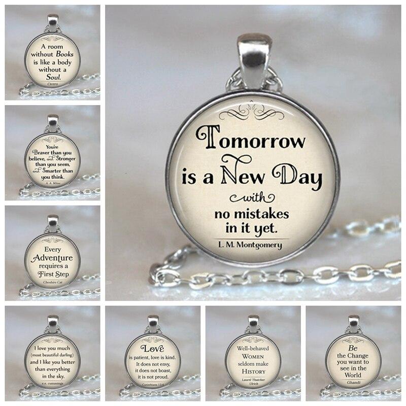 Amanhã é um Novo Dia Pingentes Citação Alice No País Das Maravilhas Pingente de Colar Artesanal de Vidro Cabochão Jóias Acessórios