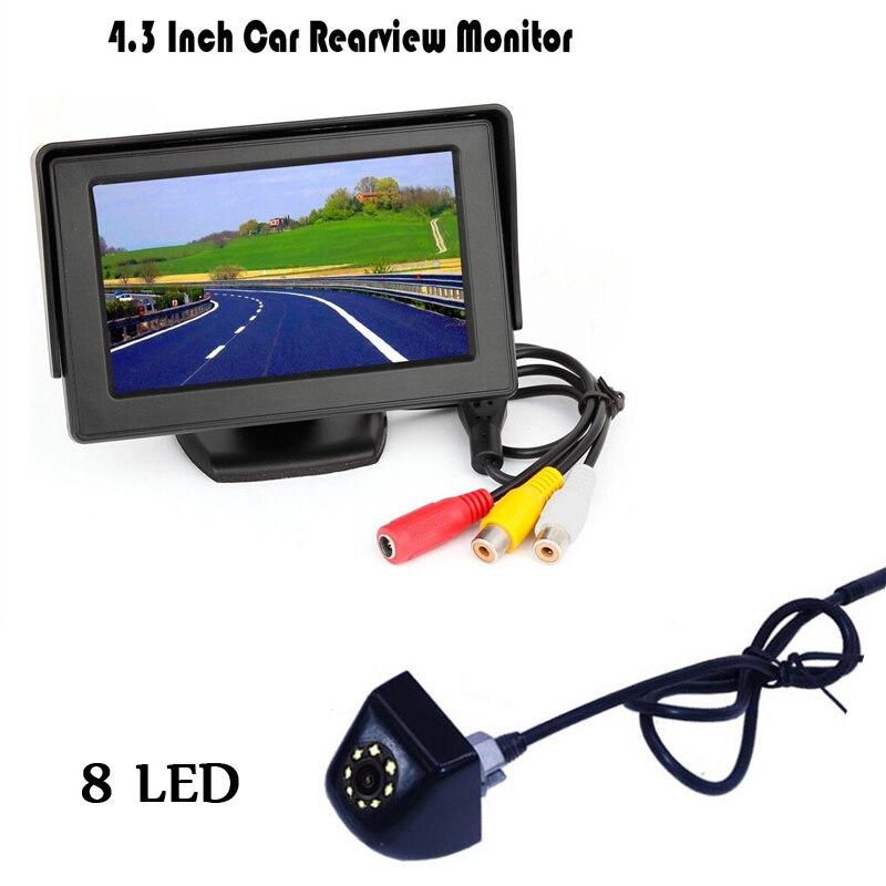 "New 2017 Kit Display 4.3 ""hd  Lcd Monitor Car Rear View Night Vision 170 Degree 8LEDs parking camera black / White/ Plating"
