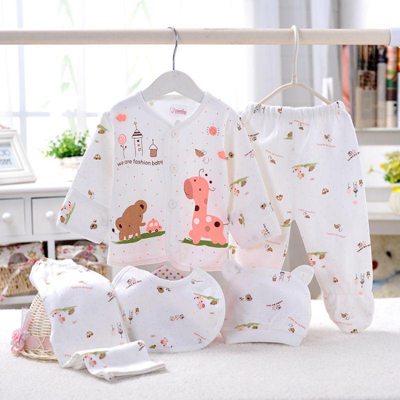 Одежда для новорожденных мальчиков и девочек, хлопковые топы с героями мультфильмов, штаны, 4/5 шт., нагрудник, шапки, Одежда для новорожденных, одежда для детей 0-3 месяцев