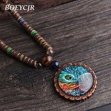 BOEYCJR perles en bois paon plume motif Vintage bijoux faits à la main Long pendentif collier pour les femmes