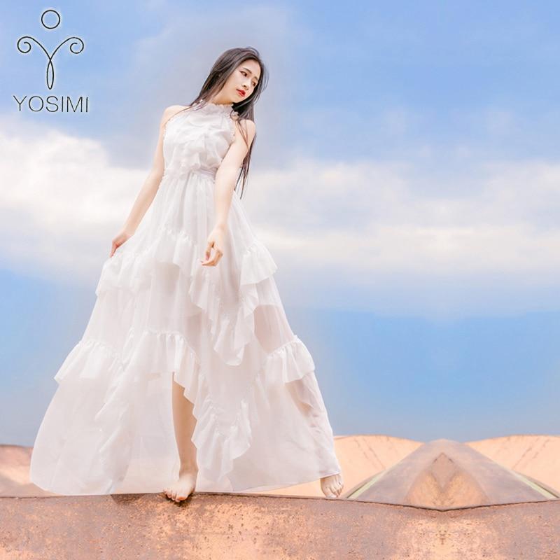 Yosimi 2018 verão fada longo vestido feminino maxi elegante chiffon vintage babados stand-neck vestido de praia noite festa túnica branco