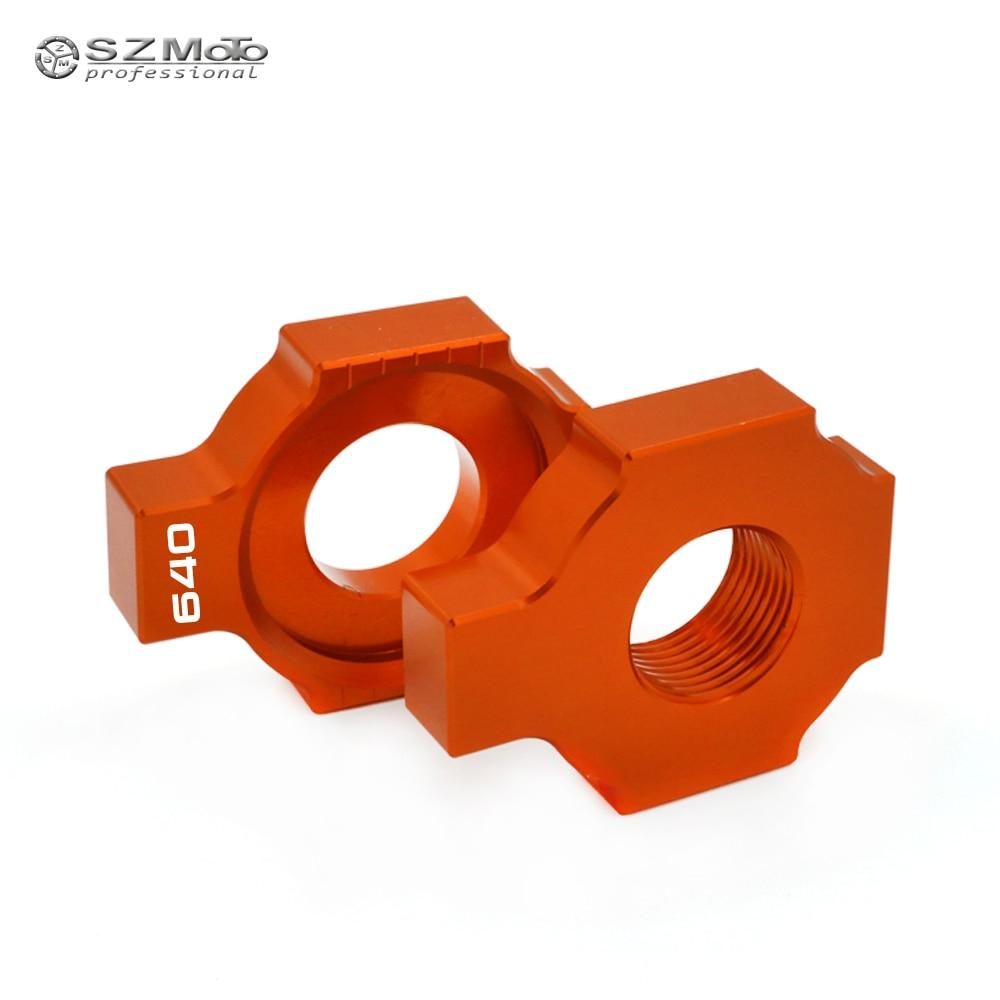 Regulador de Ajustador de cadena Swingarm Slider para KTM 640 LC4 ADVENTURE R SUPERMOTO ENDUR accesorios de motocicleta CNC naranja con logotipo