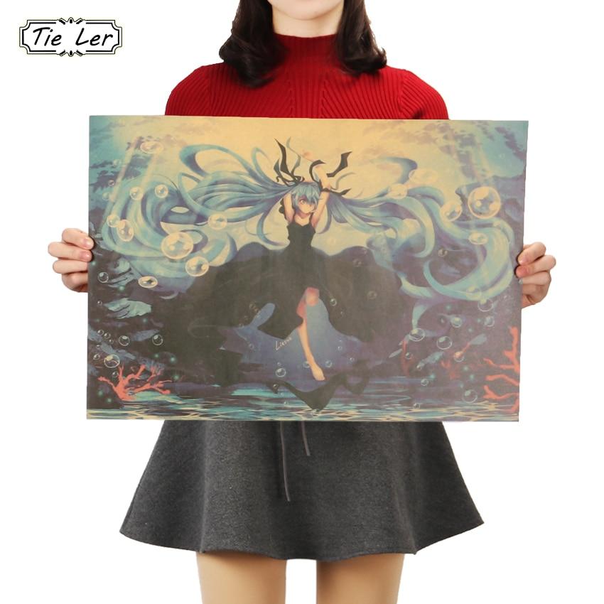 KRAWATTE LER Cartoon Comic Hatsune Miku Musik B Stil Kraft Papier Poster Bars Cafe Decor Malerei Wand Aufkleber 51x36cm