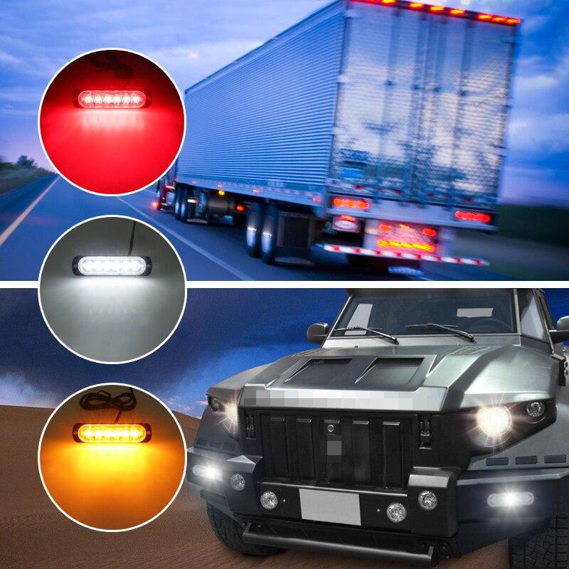 Impermeable ultradelgado Alta Calidad general motocicleta SUV camión luz estroboscópica luz de advertencia 6 LED 12-24V modo de flash ajustable