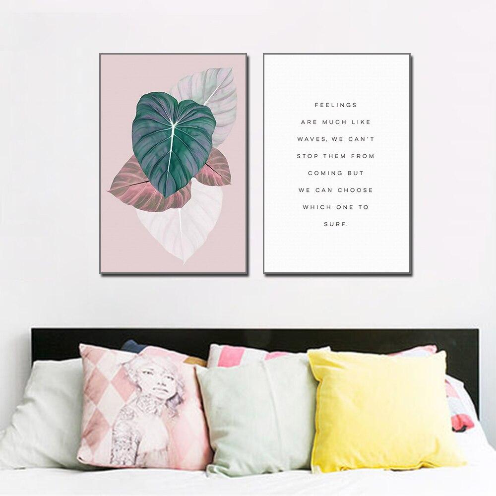 De las hojas de la planta y texto casa decoración Mural Arte Simple pintura pared pósteres e impresiones artísticos de pared para dormitorio