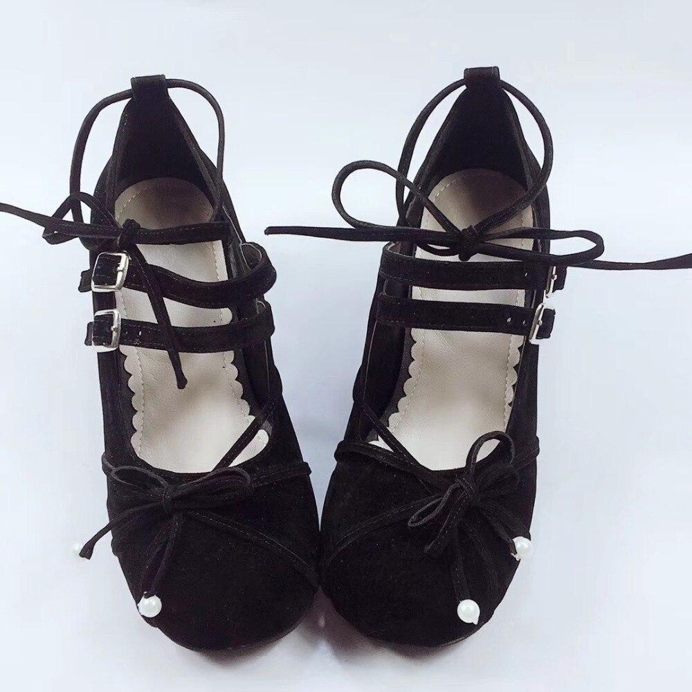 Zapatos de tacón alto de 4,5 cm, zapatos con correas cruzadas con lazo negro, zapatos de tacón Lolita, zapatos de fiesta de princesa y Chica, dulce cosplay de Lolita