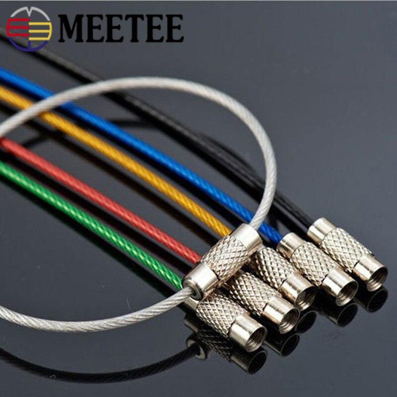 Meetee 20/50 Uds 15cm Color acero inoxidable O anillo hebilla viajero llavero etiqueta colgar hebilla DIY colgante gancho Accesorios