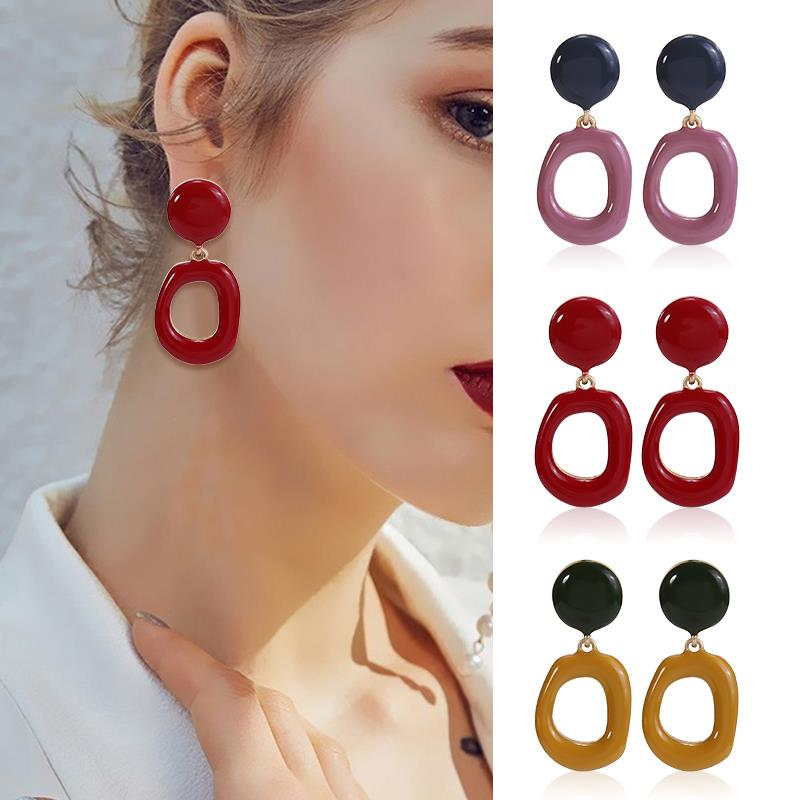 HOCOLE New Summer Geometric Earrings For Women Vintage Gold Color Stud Earrings Fashion Jewelry Wedding Earrings 2019