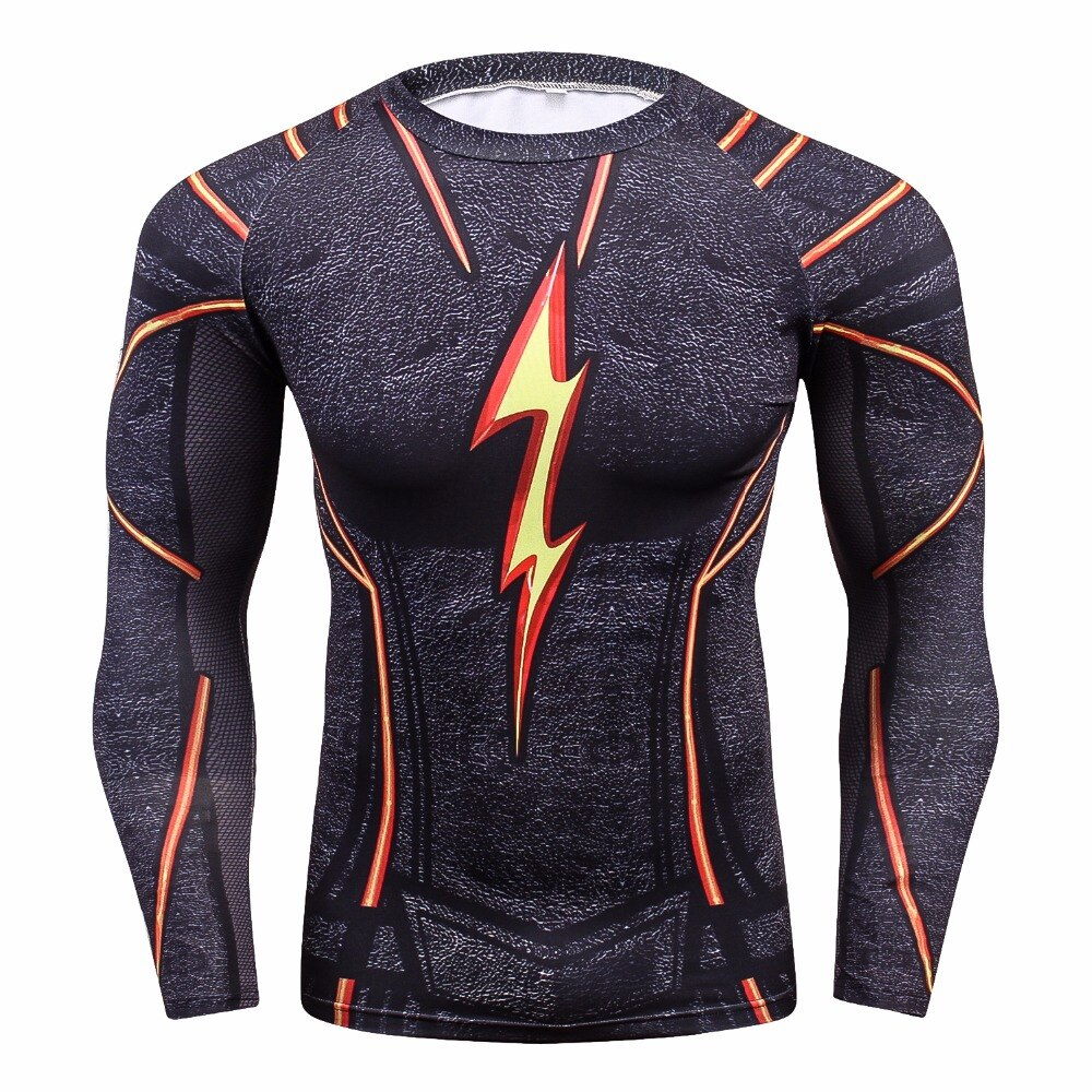Camiseta de compresión FLASH para hombre, Camisetas estampadas en 3D para hombre, camisetas de manga larga raglán para Cosplay, ropa deportiva para hombre